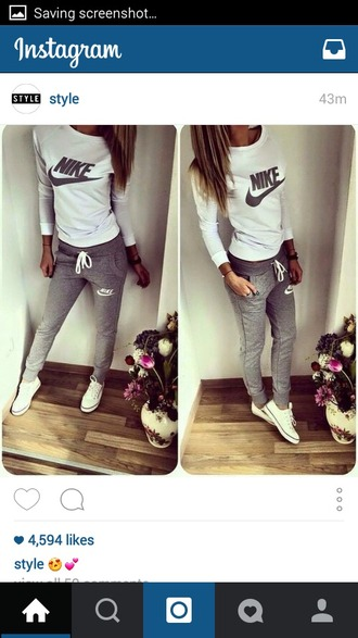 pants grey sweater grey sweatpants white t-shirt black and white nike