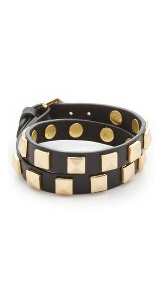 studs gold leather black jewels