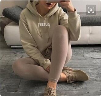 sweater yeezus jumper cream nude oversized