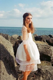 double layer,white dress,mesh,white,style,hipster wedding,dress,embellished dress,sheer,long sleeve dress