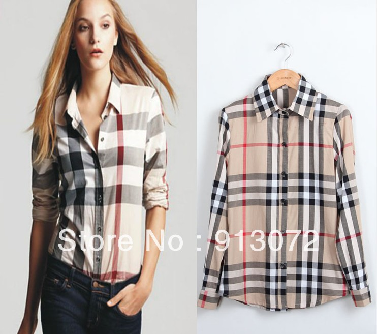 ST171 New Arrival womens' Classic Basic Plaid Blouse elegant slim casual cozy shirts long sleeve brand quality tops-in Blouses & Shirts from Apparel & Accessories on Aliexpress.com