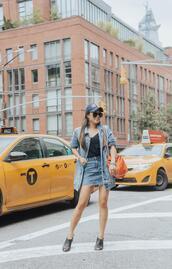 gracefullee made,blogger,jacket,shoes,denim jacket,skirt,denim skirt,orange bag