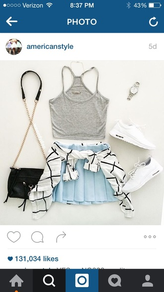 skirt light blue pleated crop tops outfit summer pleated skirt white crop tops grey gray shirt cropped summer outfits