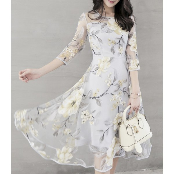 Chic Women's Voile Spliced 3/4 Sleeve Jewel Neck Flower Dress
