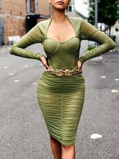 dress,tight,bodycon,bodysuit,green,bustier,body,see through