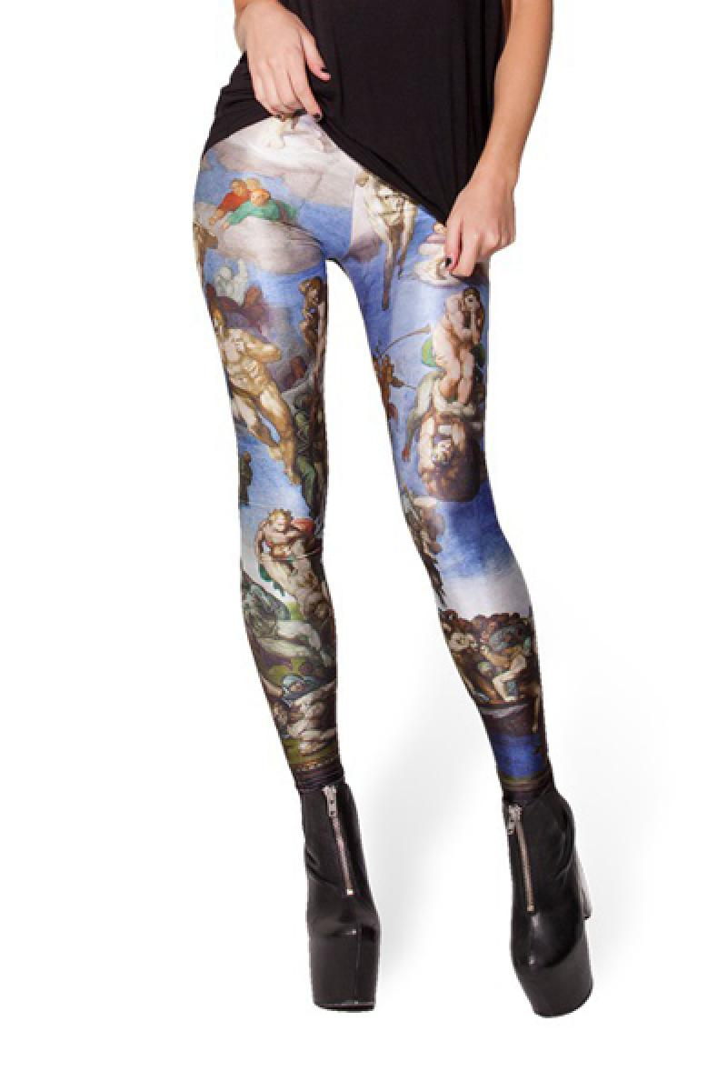 Multi Skinny Paradise Printed Elastic Leggings,Cheap in Wendybox.com
