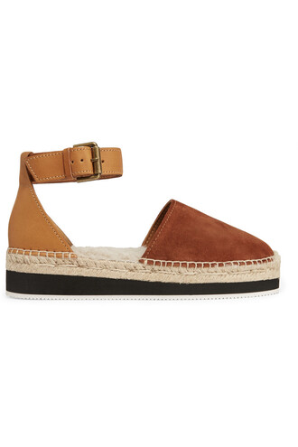 espadrilles leather suede tan shoes
