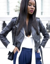jacket,leather,spring,spring outfits,black,blue,black and white