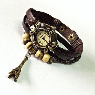 jewels charm bracelet leather watch watch fashion accessories wrap watch style paris watch eiffel tower