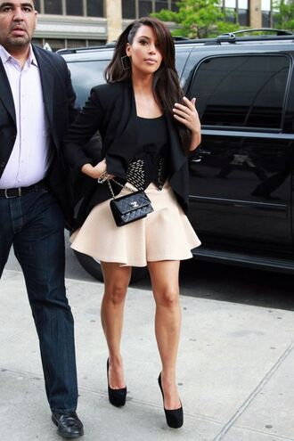 jacket kim kardashian cropped jacket full skirt louboutin heels chanel skirt