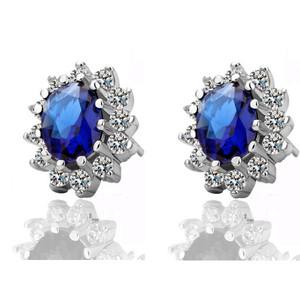 Luxury Royal Dark Blue Sapphire Zircon Queen Design Stud Earrings E505   Amazing Shoes UK