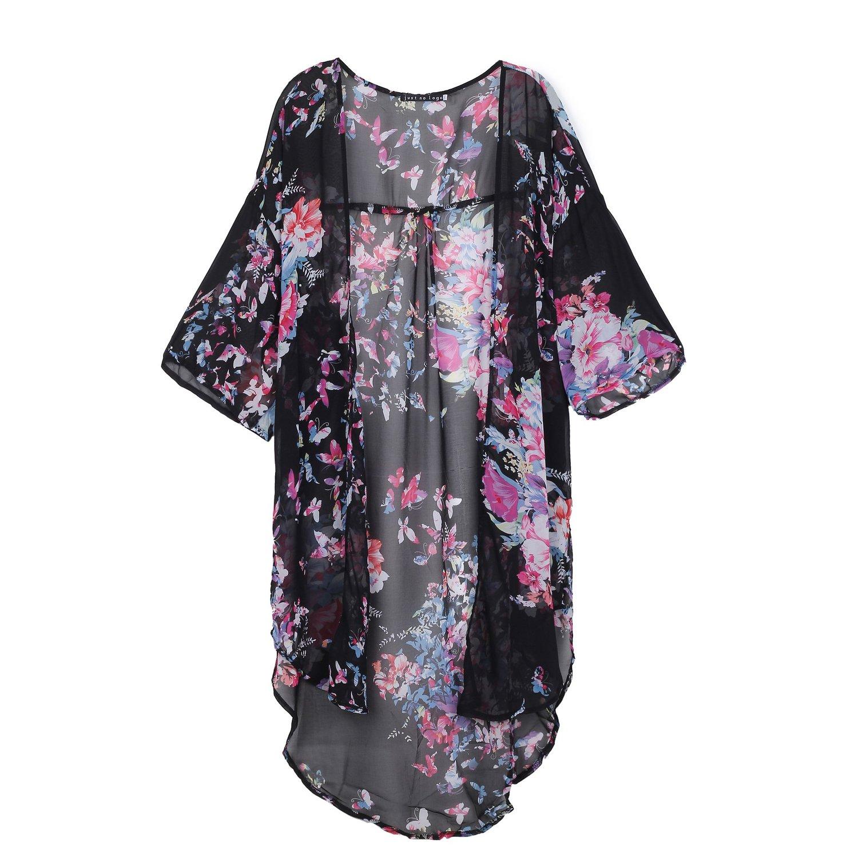 com: Just No Logo Longline Kimono Cardigan In Floral Print Black L ...