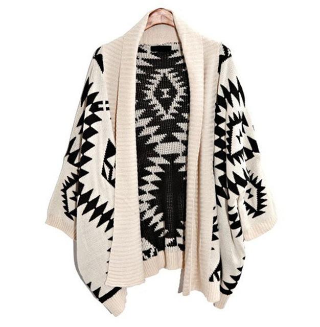 Aliexpress.com   Buy 2015 Womens Fashion Geometric Aztec Tribal Knit Open  Long Sleeve Irregular Oversized Tops Cardigan High Quality Sweaters ... deb739fb3