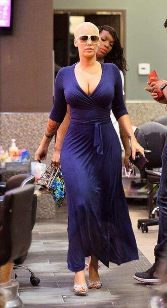 dress maxi dress blue wrap dress amber rose