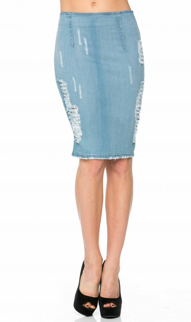 406005d1c28 Slightly Distressed High Waisted Denim Pencil Skirt (Plus Sizes ...