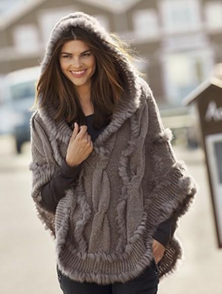 poncho gray knitwear hoodie