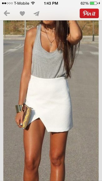 white skirt shirt grey tank top scoop