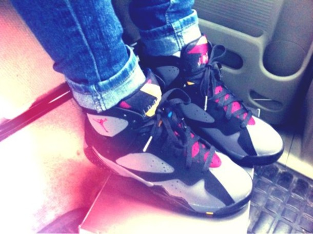 shoes girl air jordan black pink white jordans sneakers high top sneakers grey pink& black