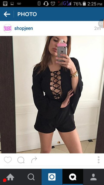 romper black long sleeves open lace up front criss cross front