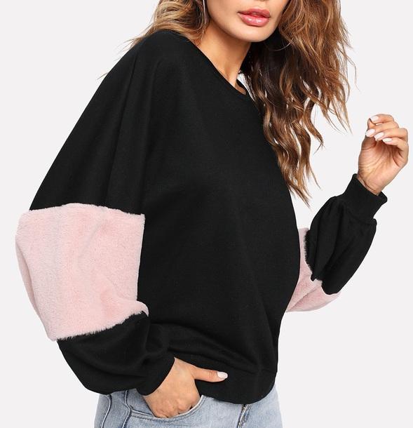sweater girly black sweatshirt jumper fur pink