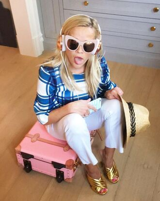 shoes sunglasses pants blouse reese witherspoon hat instagram