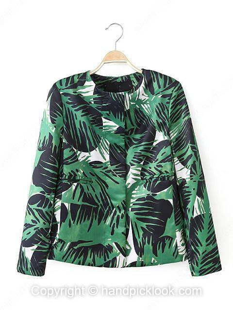 Green Long Sleeve Leaves Print Blazer - HandpickLook.com