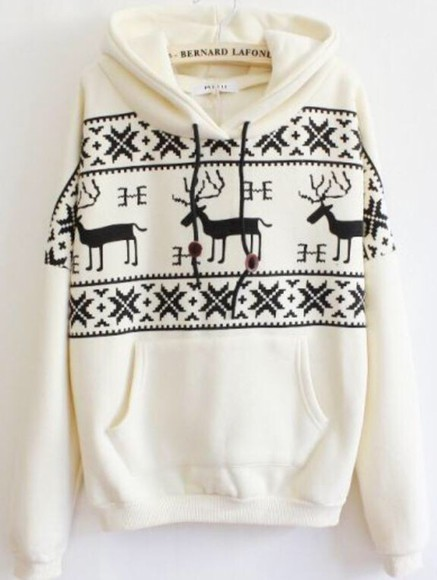 hoodie christmas sweater white moose logo