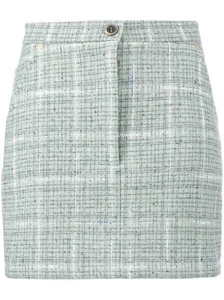 skirt mini skirt mini women cotton silk wool green