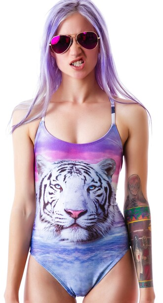 swimwear wildfox uk tiger print swimmincostume purple blue animal face print