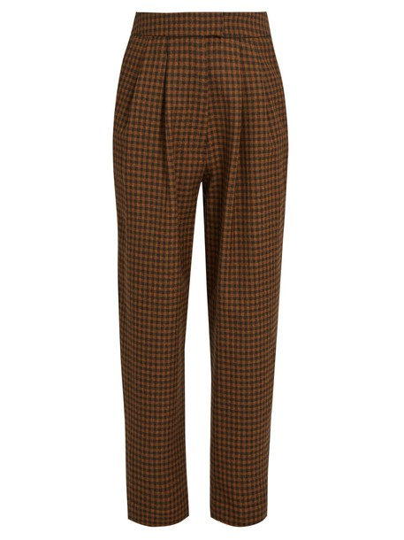 ISA ARFEN cropped wool brown pants