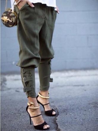 pants dark green military style high heels dope wishlist