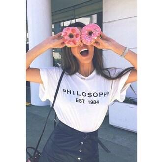 shirt 1738 top black white girl women style fashion lips smile street donut bracelets
