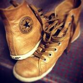 shoes,converse,light brown,leather,tan,rustic,casual,high top sneakers,holiday gift,leather converse,chuck taylor all star leather high cut brown
