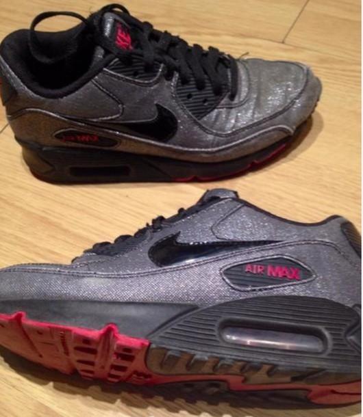 shoes, nike, air max, glitter, black - Wheretoget
