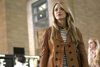 jacket blake lively gossip girl serena van der woodsen fashion blonde hair leather jacket