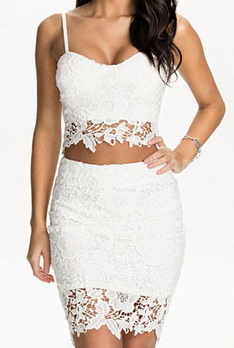 Spaghetti Strap Sleeveless Cut Out Tank Top High-Waisted Lace ...