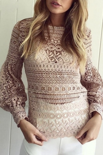 top crochet trendy nude long sleeves elegant beautifulhalo