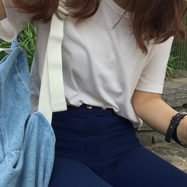 pants blue corduroy navy high waisted jeans gold button denim white shirt t-shirt blue pants
