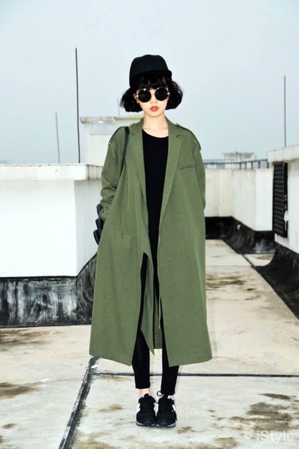 Coat: green, army green, army green jacket, trench coat, trench ...
