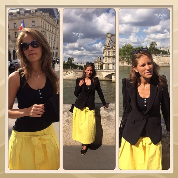 yellow skirt shoes love yellow paris summer shoes summer outfits summer shirt chanel sunglasses