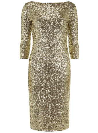 Gold sequin midi dress - View All Sale - Dorothy Perkins