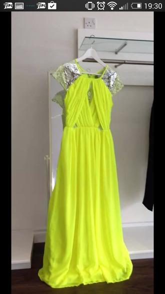 dress lime full length cap sleeve sequin sleeve criss cross pretty