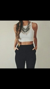 jewels,shirt,pants,clothes,white top,the whole set,crop tops,crop,top,white crop tops,necklace,silver necklace,silver,silver jewelry,black pants,high waisted pants,jeans,black,chinos,white,braid,tank top,layered silver necklace,trouser,high waisted,outfit,black high waisted pants,black dress,tumblr,fashion,love,statement necklace,heels,croc top,grey,grey and white,style,grunge,boho,girl,girly,statement,jewelry