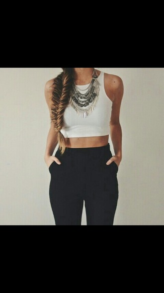 jewels shirt pants clothes white top the whole set crop tops crop top white crop tops necklace silver necklace silver silver jewelry black pants high waisted pants jeans black chinos white braid tank top layered silver necklace trouser high waisted outfit black high waisted pants black dress tumblr fashion love statement necklace heels croc top grey grey and white style grunge boho girl girly statement jewelry