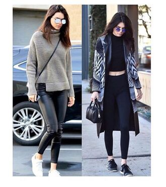 coat kendall jenner knitted sweater skinny pants adidas shoes sleeveless army green  shirt with studded collar cropped turtleneck turtleneck leggings