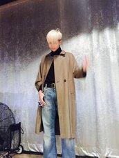 coat,brown,rap monster,bts,mens coat,mens trench coat,beige coat,nude,bts rap monster,hype,tumblr,tumblr outfit,namjoon