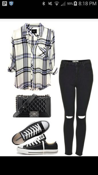 shirt pants converse jeans