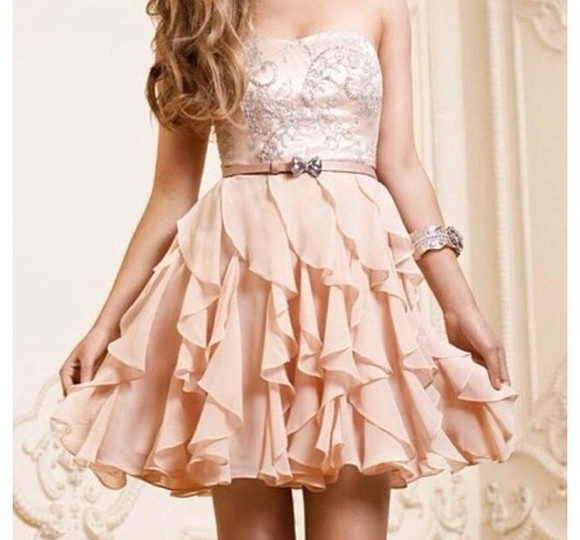 dress cute dress cute ruffles peach peach dresses sleevless dress country, prom, ruffles, cream, dress