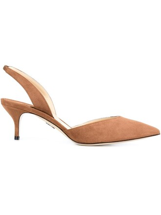 women pumps suede brown shoes