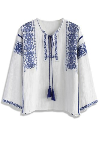 top boho chic embroidered blue